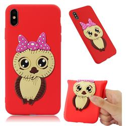 Bowknot Girl Owl Soft 3D Silicone Case for iPhone XS Max (6.5 inch) - Red