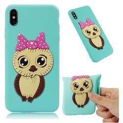 Bowknot Girl Owl Soft 3D Silicone Case for iPhone XS Max (6.5 inch) - Sky Blue
