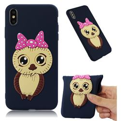 Bowknot Girl Owl Soft 3D Silicone Case for iPhone XS Max (6.5 inch) - Navy
