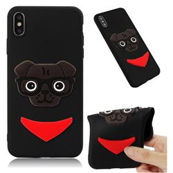 Glasses Dog Soft 3D Silicone Case for iPhone XS Max (6.5 inch) - Black