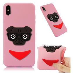 Glasses Dog Soft 3D Silicone Case for iPhone XS Max (6.5 inch) - Pink
