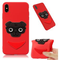 Glasses Dog Soft 3D Silicone Case for iPhone XS Max (6.5 inch) - Red