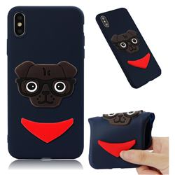 Glasses Dog Soft 3D Silicone Case for iPhone XS Max (6.5 inch) - Navy