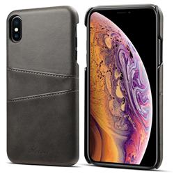 Suteni Retro Classic Card Slots Calf Leather Coated Back Cover for iPhone XS Max (6.5 inch) - Black