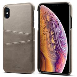 Suteni Retro Classic Card Slots Calf Leather Coated Back Cover for iPhone XS Max (6.5 inch) - Gray