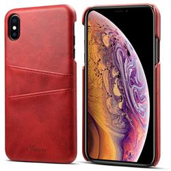 Suteni Retro Classic Card Slots Calf Leather Coated Back Cover for iPhone XS Max (6.5 inch) - Red