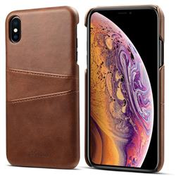 Suteni Retro Classic Card Slots Calf Leather Coated Back Cover for iPhone XS Max (6.5 inch) - Brown