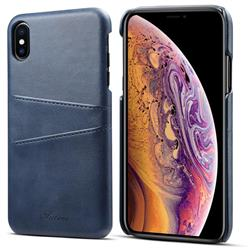 Suteni Retro Classic Card Slots Calf Leather Coated Back Cover for iPhone XS Max (6.5 inch) - Blue
