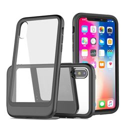 Luxury 3-in-1 Silicone + Transparent PC Anti-fall Phone Case for iPhone XS Max (6.5 inch) - Black