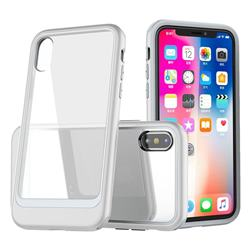 Luxury 3-in-1 Silicone + Transparent PC Anti-fall Phone Case for iPhone XS Max (6.5 inch) - Silver