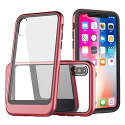 Luxury 3-in-1 Silicone + Transparent PC Anti-fall Phone Case for iPhone XS Max (6.5 inch) - Red