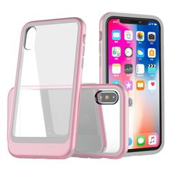 Luxury 3-in-1 Silicone + Transparent PC Anti-fall Phone Case for iPhone XS Max (6.5 inch) - Pink