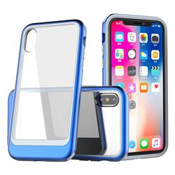Luxury 3-in-1 Silicone + Transparent PC Anti-fall Phone Case for iPhone XS Max (6.5 inch) - Blue