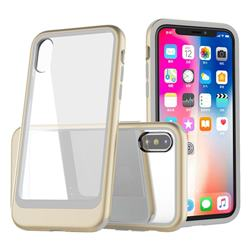 Luxury 3-in-1 Silicone + Transparent PC Anti-fall Phone Case for iPhone XS Max (6.5 inch) - Golden