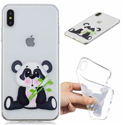 Bamboo Panda Clear Varnish Soft Phone Back Cover for iPhone XS Max (6.5 inch)