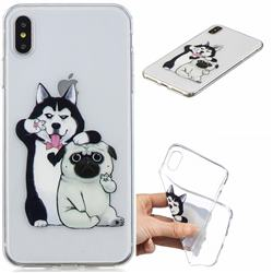 Selfie Dog Clear Varnish Soft Phone Back Cover for iPhone XS Max (6.5 inch)