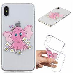 Tiny Pink Elephant Clear Varnish Soft Phone Back Cover for iPhone XS Max (6.5 inch)
