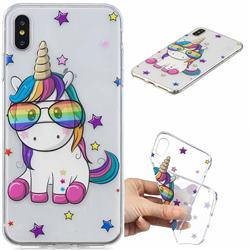 Glasses Unicorn Clear Varnish Soft Phone Back Cover for iPhone XS Max (6.5 inch)