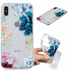 Gem Flower Clear Varnish Soft Phone Back Cover for iPhone XS Max (6.5 inch)