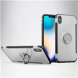 Armor Anti Drop Carbon PC + Silicon Invisible Ring Holder Phone Case for iPhone XS Max (6.5 inch) - Silver