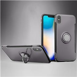 Armor Anti Drop Carbon PC + Silicon Invisible Ring Holder Phone Case for iPhone XS Max (6.5 inch) - Grey