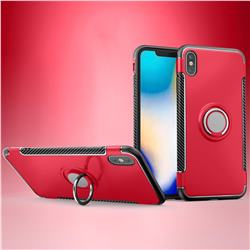 Armor Anti Drop Carbon PC + Silicon Invisible Ring Holder Phone Case for iPhone XS Max (6.5 inch) - Red