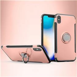 Armor Anti Drop Carbon PC + Silicon Invisible Ring Holder Phone Case for iPhone XS Max (6.5 inch) - Rose Gold