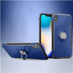 Armor Anti Drop Carbon PC + Silicon Invisible Ring Holder Phone Case for iPhone XS Max (6.5 inch) - Sapphire