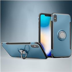 Armor Anti Drop Carbon PC + Silicon Invisible Ring Holder Phone Case for iPhone XS Max (6.5 inch) - Navy