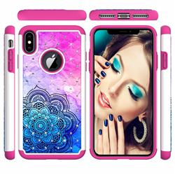 Colored Mandala Studded Rhinestone Bling Diamond Shock Absorbing Hybrid Defender Rugged Phone Case Cover for iPhone XS Max (6.5 inch)