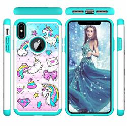Fashion Unicorn Studded Rhinestone Bling Diamond Shock Absorbing Hybrid Defender Rugged Phone Case Cover for iPhone XS Max (6.5 inch)