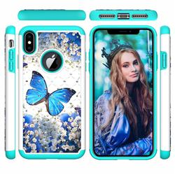 Flower Butterfly Studded Rhinestone Bling Diamond Shock Absorbing Hybrid Defender Rugged Phone Case Cover for iPhone XS Max (6.5 inch)