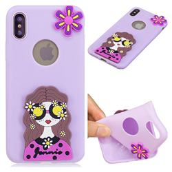 Violet Girl Soft 3D Silicone Case for iPhone XS Max (6.5 inch)