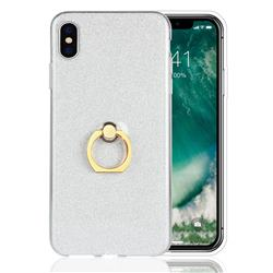 Luxury Soft TPU Glitter Back Ring Cover with 360 Rotate Finger Holder Buckle for iPhone XS Max (6.5 inch) - White