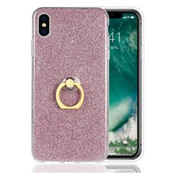 Luxury Soft TPU Glitter Back Ring Cover with 360 Rotate Finger Holder Buckle for iPhone XS Max (6.5 inch) - Pink