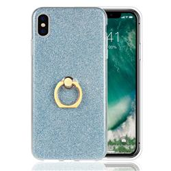 Luxury Soft TPU Glitter Back Ring Cover with 360 Rotate Finger Holder Buckle for iPhone XS Max (6.5 inch) - Blue