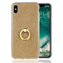 Luxury Soft TPU Glitter Back Ring Cover with 360 Rotate Finger Holder Buckle for iPhone XS Max (6.5 inch) - Golden