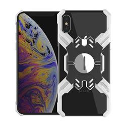 Heroes All Metal Frame Coin Kickstand Car Magnetic Bumper Phone Case for iPhone XS Max (6.5 inch) - Silver