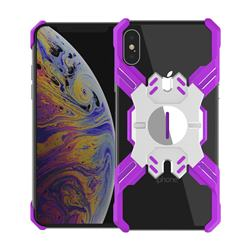 Heroes All Metal Frame Coin Kickstand Car Magnetic Bumper Phone Case for iPhone XS Max (6.5 inch) - Purple