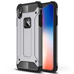 King Kong Armor Premium Shockproof Dual Layer Rugged Hard Cover for iPhone XS Max (6.5 inch) - Silver Grey