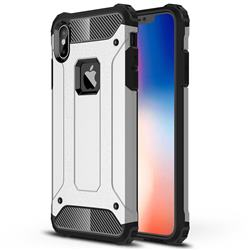 King Kong Armor Premium Shockproof Dual Layer Rugged Hard Cover for iPhone XS Max (6.5 inch) - Technology Silver