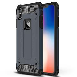 King Kong Armor Premium Shockproof Dual Layer Rugged Hard Cover for iPhone XS Max (6.5 inch) - Navy