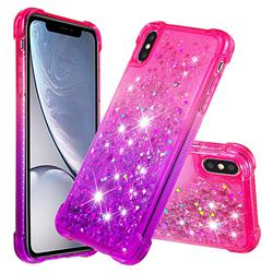 Rainbow Gradient Liquid Glitter Quicksand Sequins Phone Case for iPhone XS Max (6.5 inch) - Pink Purple