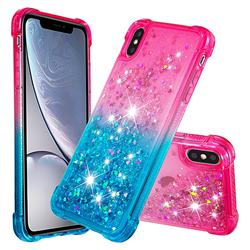Rainbow Gradient Liquid Glitter Quicksand Sequins Phone Case for iPhone XS Max (6.5 inch) - Pink Blue