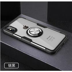 Acrylic Glass Carbon Invisible Ring Holder Phone Cover for iPhone XS Max (6.5 inch) - Silver Black