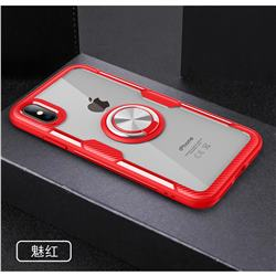 Acrylic Glass Carbon Invisible Ring Holder Phone Cover for iPhone XS Max (6.5 inch) - Charm Red