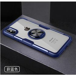 Acrylic Glass Carbon Invisible Ring Holder Phone Cover for iPhone XS Max (6.5 inch) - Azure