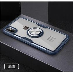 Acrylic Glass Carbon Invisible Ring Holder Phone Cover for iPhone XS Max (6.5 inch) - Navy