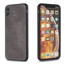 Canvas Cloth Coated Soft Phone Cover for iPhone XS Max (6.5 inch) - Dark Gray