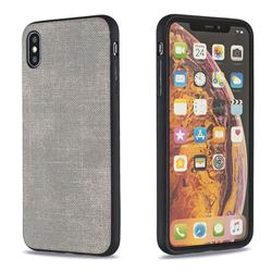 Canvas Cloth Coated Soft Phone Cover for iPhone XS Max (6.5 inch) - Light Gray
